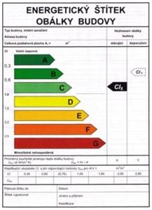 energetický štítek obálky budovy